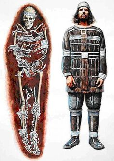 This reconstruction of leather and fur lined beads found on the skeleton of a man who died 25,000 years ago, the skeleton was found in the grave near the town of Vladimir, close to Moscow. Not bad Slavic ancestors dressed, stylish, even by today's glamorous times. Discovery by accident – Russian workers dug pit for the plant in 1955.