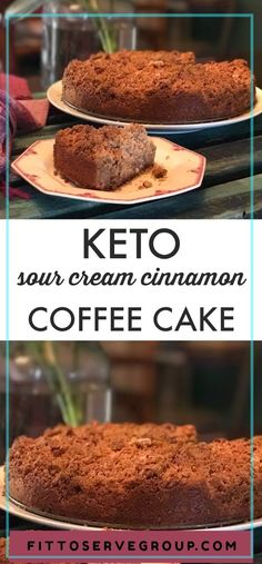 Easy Keto Sour Cream Cinnamon Coffee Cake a rich low carb keto coffee cake recipe that features a generous streusel topping. #keto #ketocake #ketocoffeecake #lowcarb #lowcarbcoffeecake #lowcarbcake