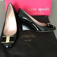 55e88895304e1 Kate Spade Patent Black Malta Wedge with Suede bow Brand new Kate Spade  patent Malta wedge