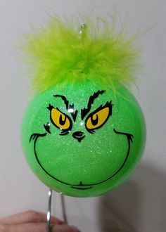 Christmas ornaments, Xmas tree decor, Christmas ornament, Grinch inspired ornament, Grinch inspired christmas ball, Holiday tree ornament by CreativeCraftRooms on Etsy https://www.etsy.com/listing/467277167/christmas-ornaments-xmas-tree-decor