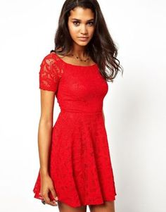 Pearl Lace Skater Dress on shopstyle.com