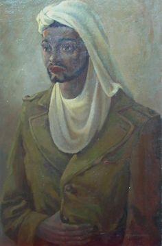 portret gemaakt in Marokko tijdens de 2e werteldoorlog