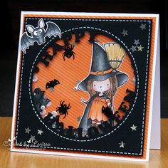 Day 24 from #thedailymarker30day3 by @kathyrac I made a halloween shaker card with the cute stampset Witch way is the candy by birdie brown for @mftstamps  I have used sequins from @prettypinkposh  and from a dutch store #halloweencard #halloweencards #birdiebrown #birdiebrowndesigns #birdiebrowndesigns #shakercard #shakercards #prettypinkposh #sequins