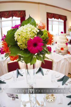 Hot Pink Gerbera Daisies & Roses, Orange Spider Genera Daisies, Tangerine Roses, Mango Mini Callas & Green Hydrangeas