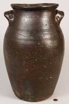 Large Tn Mort Pottery Jar, Sine Wave Incising