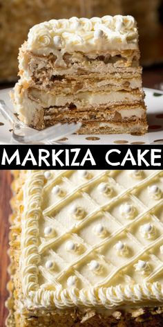 This Markiza Cake is a classic Ukrainian cake made with layers of shortbread, meringue and walnuts in between a smooth and creamy buttercream frosting. Save this Thanksgiving dessert! Strudel, Köstliche Desserts, Delicious Desserts, Dessert Recipes, Cupcake Recipes, Mini Cakes, Cupcake Cakes, Food Cakes, Croissants