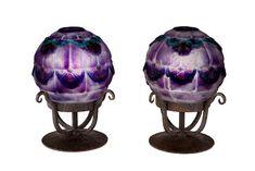 A pair of Gabriel Argy-Rousseau pate-de-verre and wrought iron boudoir lamps: Dune Flowers (Bloch-Dermant 25-26 ), model introduced 1925