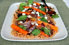 Farro Salad with Roasted Carrots and Onions, Spinach and Feta Cheese
