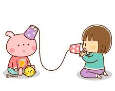 糸電話で遊ぶ子どものイラスト(ソフト)