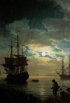 Joseph Vernet - Night - Seaport by Moonlight