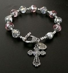 Genuine Pink and Clear AB Austrian Crystal Antique Silver Rosary Bracelet