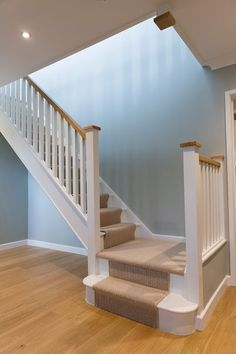 newel posts, spindles with painted or oak handrails, posts and caps. Call to arrange a free design visit. Design Of Staircase, Staircase Banister Ideas, Stained Staircase, Bannister Ideas, Stair Spindles, Timber Staircase, Painted Staircases, New Staircase, Staircase Remodel