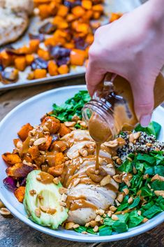 Healthy chicken salad recipe with quinoa and roasted veggies-12