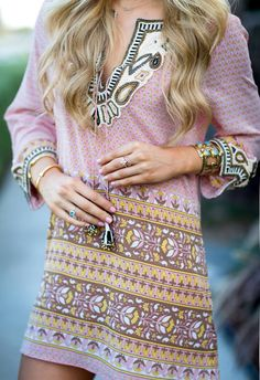 Barth Pink Multi Party Embellished Silk Tunic Dress by Angel Food St… Calypso St. Barth Pink Multi Party Embellished Silk Tunic Dress by Angel Food Style Gypsy Style, Bohemian Style, Boho Chic, My Style, Party Fashion, Love Fashion, Fashion Outfits, Womens Fashion, Style Fashion