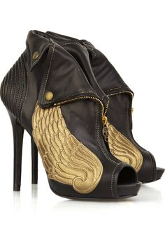 Alexander McQueen Winged leather ankle boots