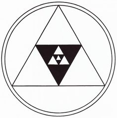 Smar-hara Yantra, the 'remover of desire'. The circle is the latent Kundalini Sakti, which penetrates beyond the successive planes of inwardness illustrated by the five male and female triangles which correspond to the five psychic sheaths that envelop the innermost self.  Yantra Symbolism.