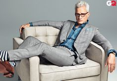 GQ Magazine April 2012 Cover featuring John Slattery.  Suit, $2,380, by Gucci. Shirt, $225 by Imogene + Willie. Shoes, $1,200 by John Lobb. Socks by Etiquette Clothiers. Belt by Smart Turnout. Pocket square by Michael Bastian. Watch by Cartier. Vintage glasses by Ray-Ban. $3805  Photographed by Sebastian Kim