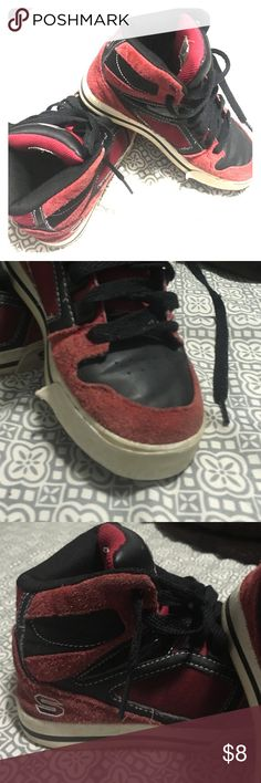 Red high top sketchers Little boy size 1.5 red high tops.  My son loved these with skinnies!! These have lots of life in them, but look at the toes and make sure you are happy with the little by if wear and tear. Sketchers Shoes Sneakers