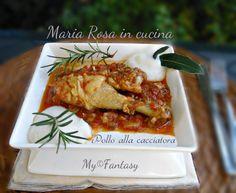 POLLO ALLA CACCIATORA Kiss The Cook, Cacciatore, Recipe Mix, Japchae, Tuscany, Meat, Chicken, Cooking, Ethnic Recipes