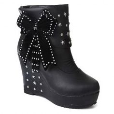 Stylish Bowknot and Rivets Design Women's Ankle Boots