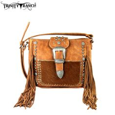 Trinity Ranch Tooled CowHair-On Genuine Leather Messenger