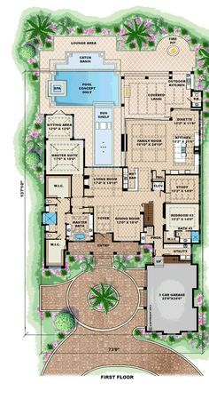 First Floor Plan of Mediterranean   House Plan 75913 - ** pinning this just for the pool! **