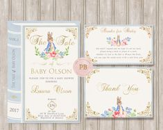 Check out our invitations & announcements selection for the very best in unique or custom, handmade pieces from our shops. First Birthday Invitations, Baby Shower Invitations For Boys, Baby Shower Themes, Baby Boy Shower, Shower Ideas, Peter Rabbit Gifts, Peter Rabbit Party, Peter Rabbit Birthday, Bunny Birthday