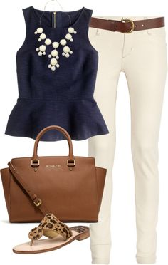 Navy peplum, cream trousers, summery sandals and brown accessories. love