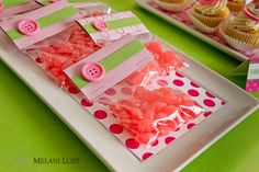 Jelly bean favors with pretty pink button detail