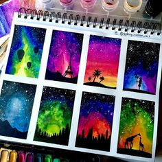 aquarellmalerei-aquarellmalen-aquarellmalerei/ - The world's most private search engine Oil Pastel Art, Oil Pastel Drawings, Art Drawings, Oil Pastels, Galaxy Painting, Galaxy Art, Watercolor Paintings, Watercolor Trees, Watercolor Animals