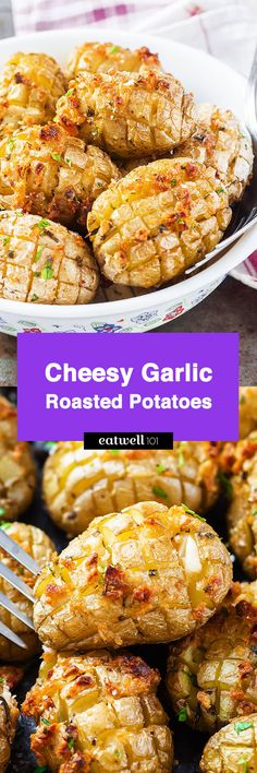 Cheesy Garlic Roasted Potatoes – Crunchy golden exteriors, soft and creamy inside. A great side dish to share with a crowd!