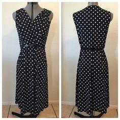 Jones New York Blue Dress White Polka Dots & Belt Jones New York Dark Blue Dress with White Polka Dots & Matching Dark Blue Belt. Jones New York Dresses