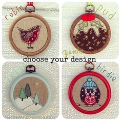 Mini Hoop Christmas Decorations - Freehand Machine Embroidered - PREORDER £4.00