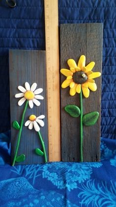 Sunflower Pebble Art Driftwood Art Pebble от WildWhimsicalNature