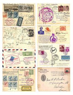 Vintage Labels, Vintage Ephemera, Vintage Paper, Vintage Postcards, Printable Vintage, Vintage Stamps, Printable Postcards, Collage Vintage, Vintage Cards