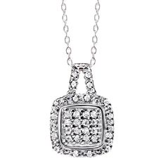 """It's on every girl's wish list! An genuine diamond encrusted square pendant in an exquisite platinum-plated setting. Comes in an elegant red velvet gift box.· Pendant: 5/8"""" L· Chain: 19"""" L platinum-plated with spring ring closure· Pendant: 1/10-carat genuine diamonds· Bale: Bale and surrounding area are texture only· Imported"""