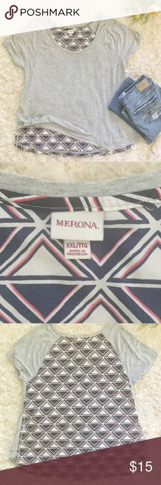 •Merona• Jersey Tee & Triangles This top from Merona is in EUC and features a triangle design on back. Front of top is soft and made of 95% rayon 5% spandex, back is made of 100% polyester. Bundle and save on shipping! Merona Tops