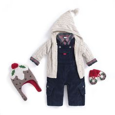 Baby boy outfit, navy corduroy dungarees (overalls), shirt, hooded cardie and matching Christmas pudding mittens and hat. #outfit #kidsfashion #childrensfashion