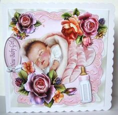 SWEET VINTAGE BABY GIRL WITH ROSES 8X8 MINI KIT on Craftsuprint designed by Nick Bowley - made by Margaret McCartney - I printed the design onto good quality photographic paper and cut it out. I scored and folded an 8 x 8 scalloped edged card. I attached the design to the card using double sided tape. I assembled the decoupage and added the greeting using thin foam tape.  - Now available for download!