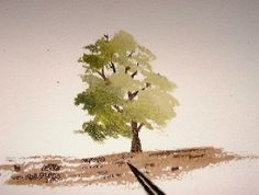 tree painting, watercolors