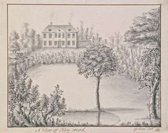 Drawing of the south front of the red-brick house, painted white, in 1756, by Mary Delany
