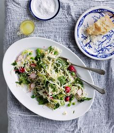 Australian Gourmet Traveller recipe for cabbage, pea, mint, chilli and parmesan salad by Karen Martini from Melbourne restaurant Mr Wolf.