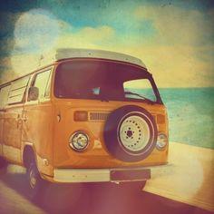 Surfer van, VW Kombi photo, with turquoise blue ocean, summer beach, orange, yellow, volkswagen, retro home decor - 4x4 fine art print. $6.00, via Etsy.