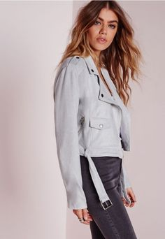 My style of tall girl clothing >> Tall Faux Suede Biker Jacket Grey - Missguided << @tallnnatural