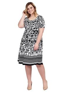 Plus Size ROBBIE BEE Floral Black & White Dress