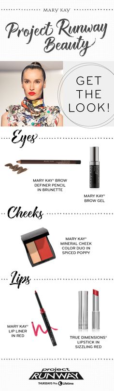 A Project Runway makeup look that's all about the lips! Get the perfect pout for your holiday parties with True Dimensions® Lipstick in Sizzling Red.   Mary Kay