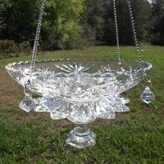 Vintage Cut Glass Elegant Hanging Repurposed Bird Feeder