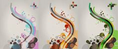 Illustrations in an abstract manner depicted in a variety of color palettes.