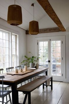 Old Soul: A Revolution-Era Hudson Valley Home Gets an Update from Jersey Ice Cream Co. - Remodelista : Jersey Ice Cream Co, Old Chatham, dining room Dining Room Design, Dining Room Decor, Room Decor, Interior Design, Long Narrow Living Room, Home, Interior, Farmhouse Dining Room, Home Decor