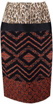 ShopStyle: Giambattista Valli Jacquard patchwork fitted skirt